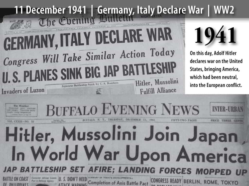 1941; war is declared newspaper