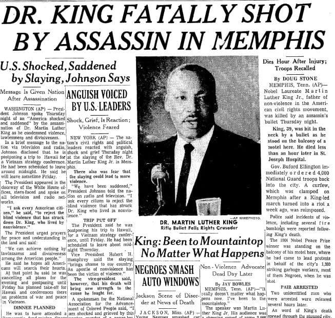 1968 MLK ASSASSINATED