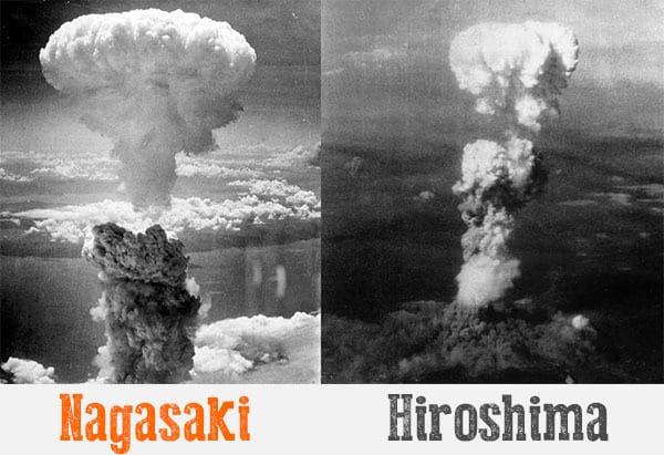 1945; atomic bomb of Nagasaki and Hiroshima