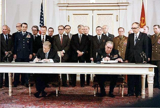 1979; Carter_Brezhnev_sign_SALT_II