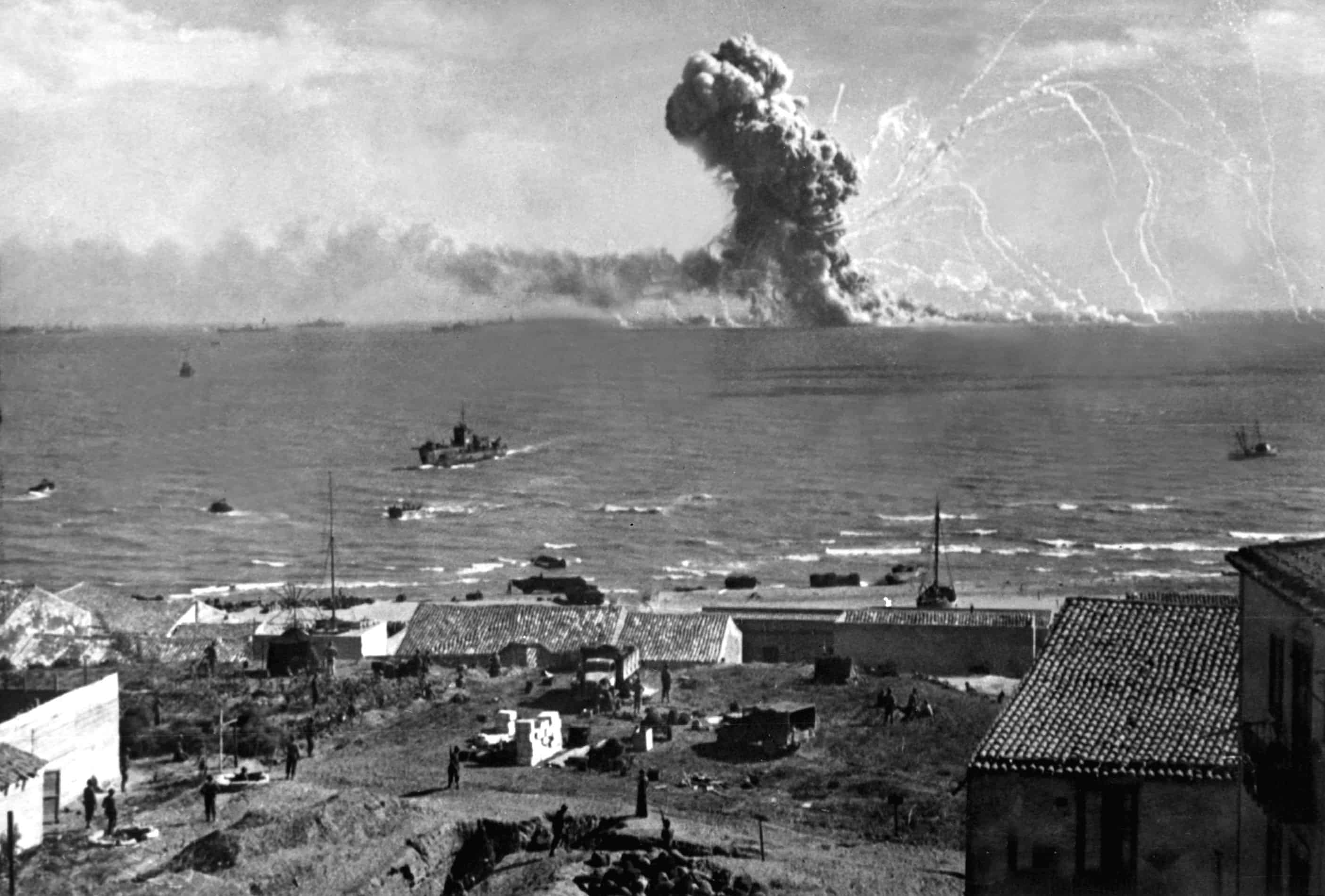 1943; German plane bombs American cargo ship