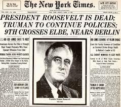 1945; ROOSEVELT DEAth newspaper