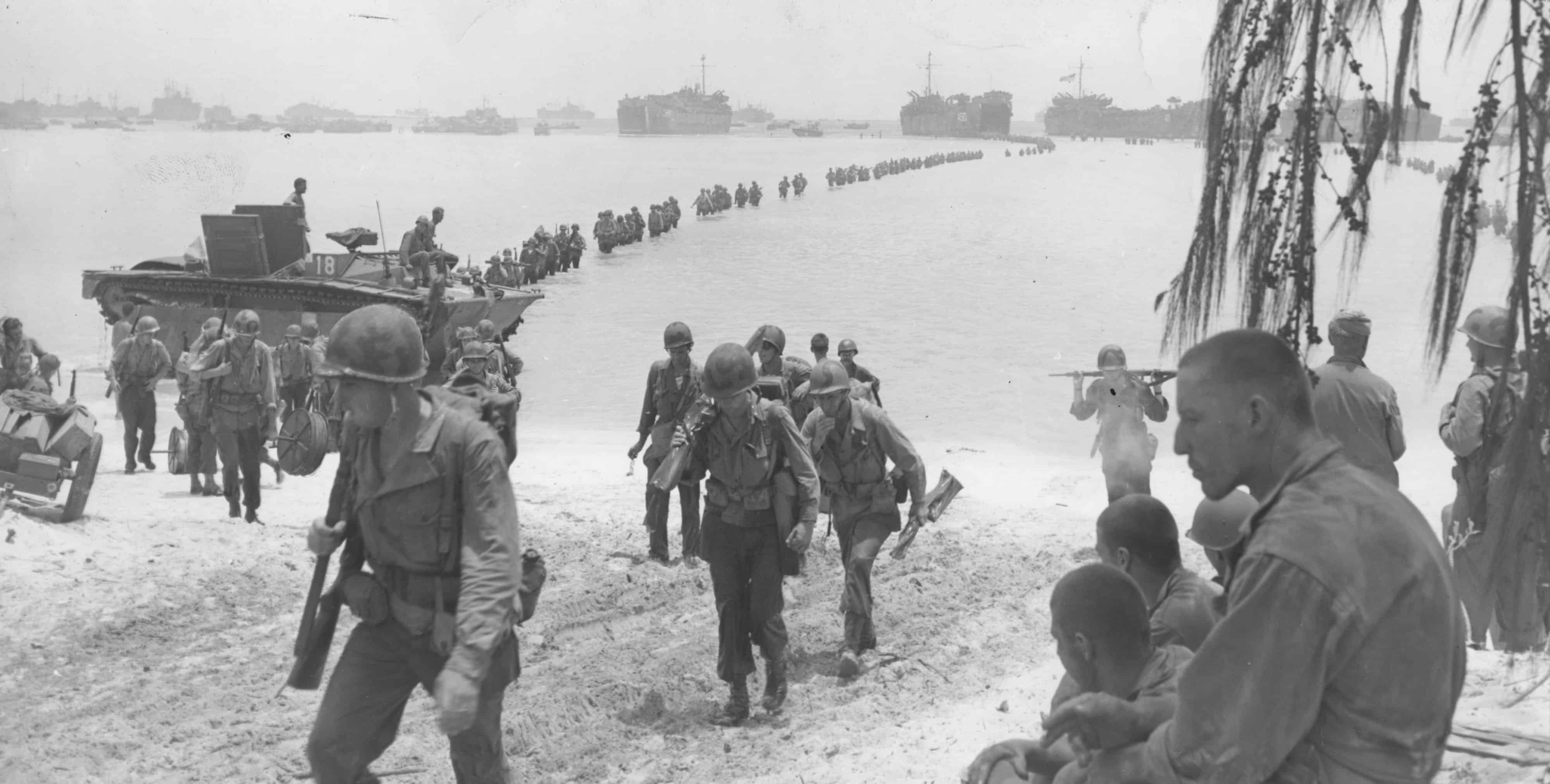 1944; troops land in saipan