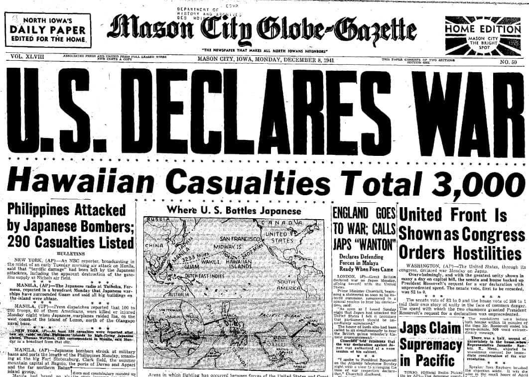 1941; US DECLARES WAR JAPAN