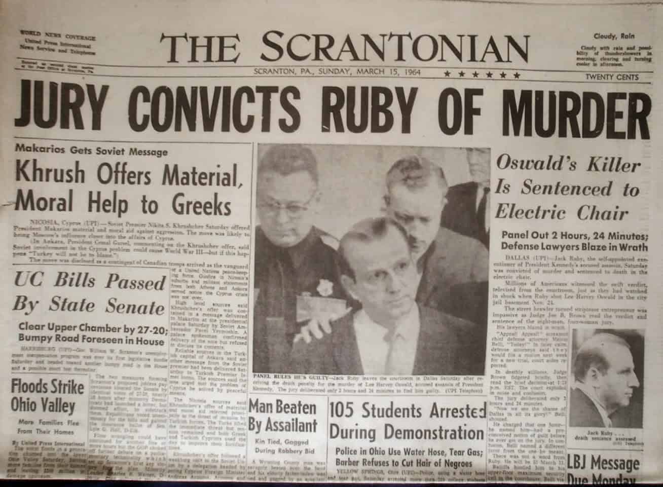 1964; ruby conviction newspaper