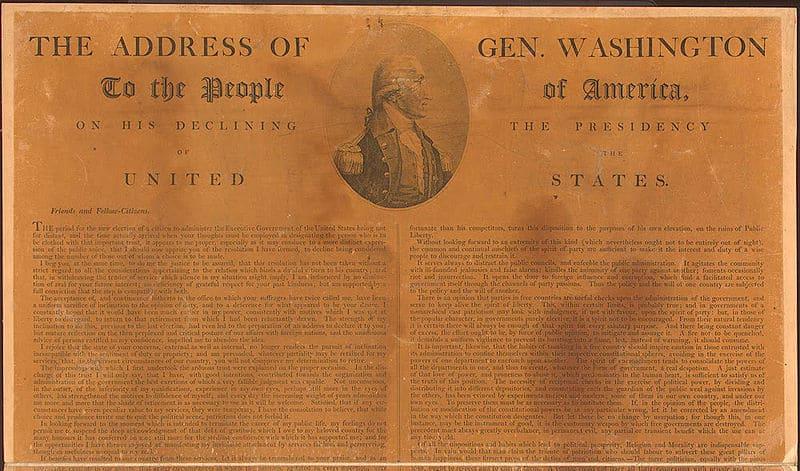 1796; Washington farewell address